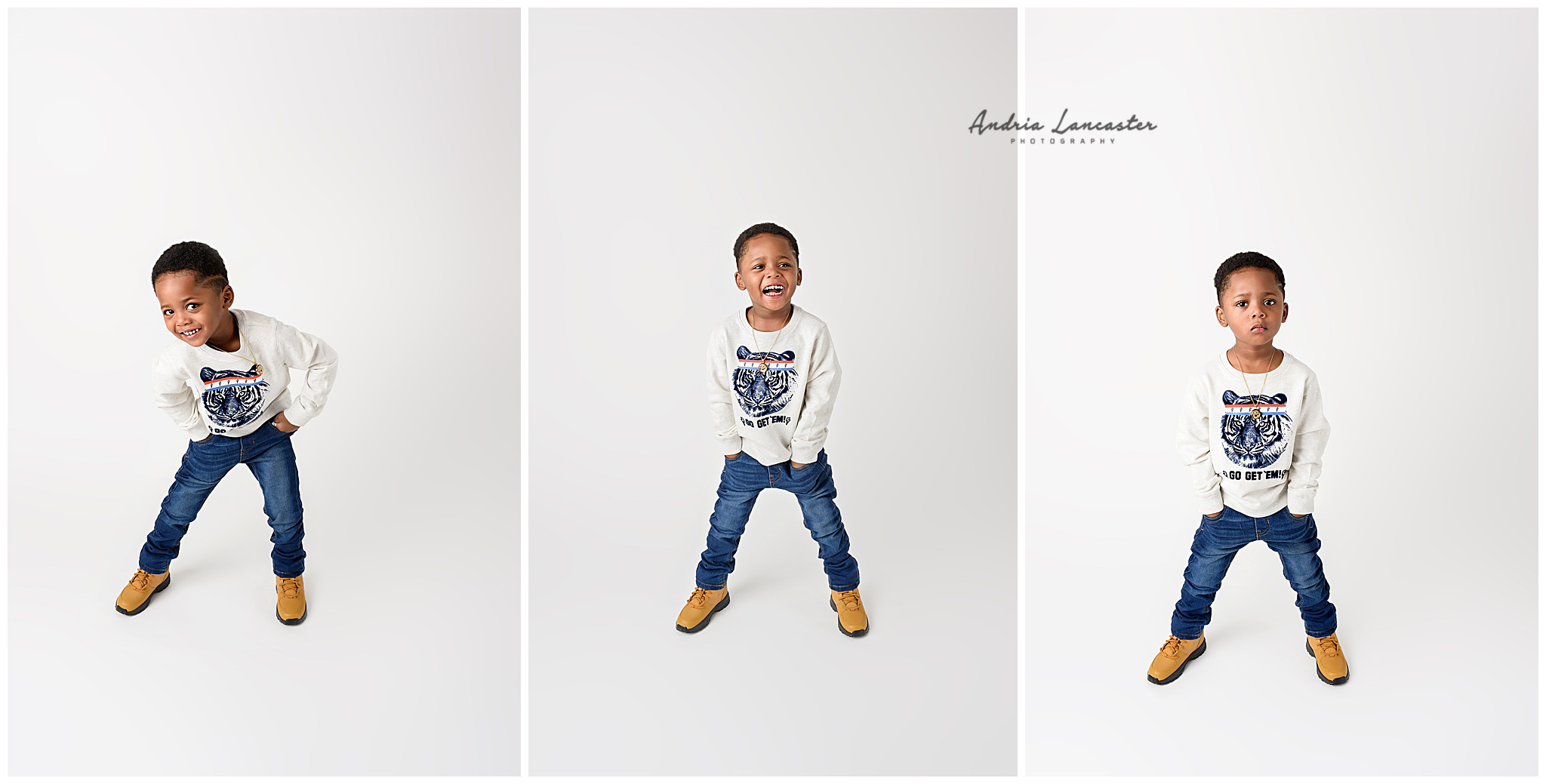 3 poses side by side Brooklyn child photography