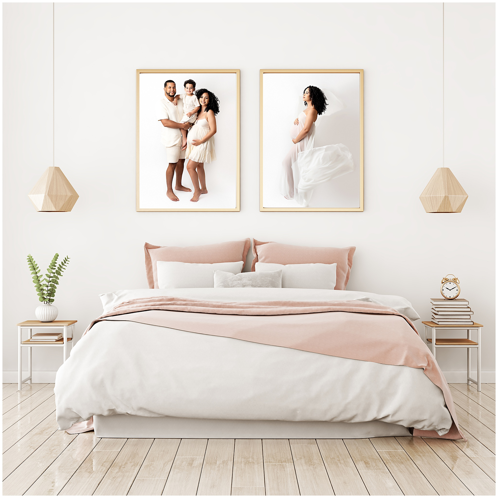 Maternity family session wall art display