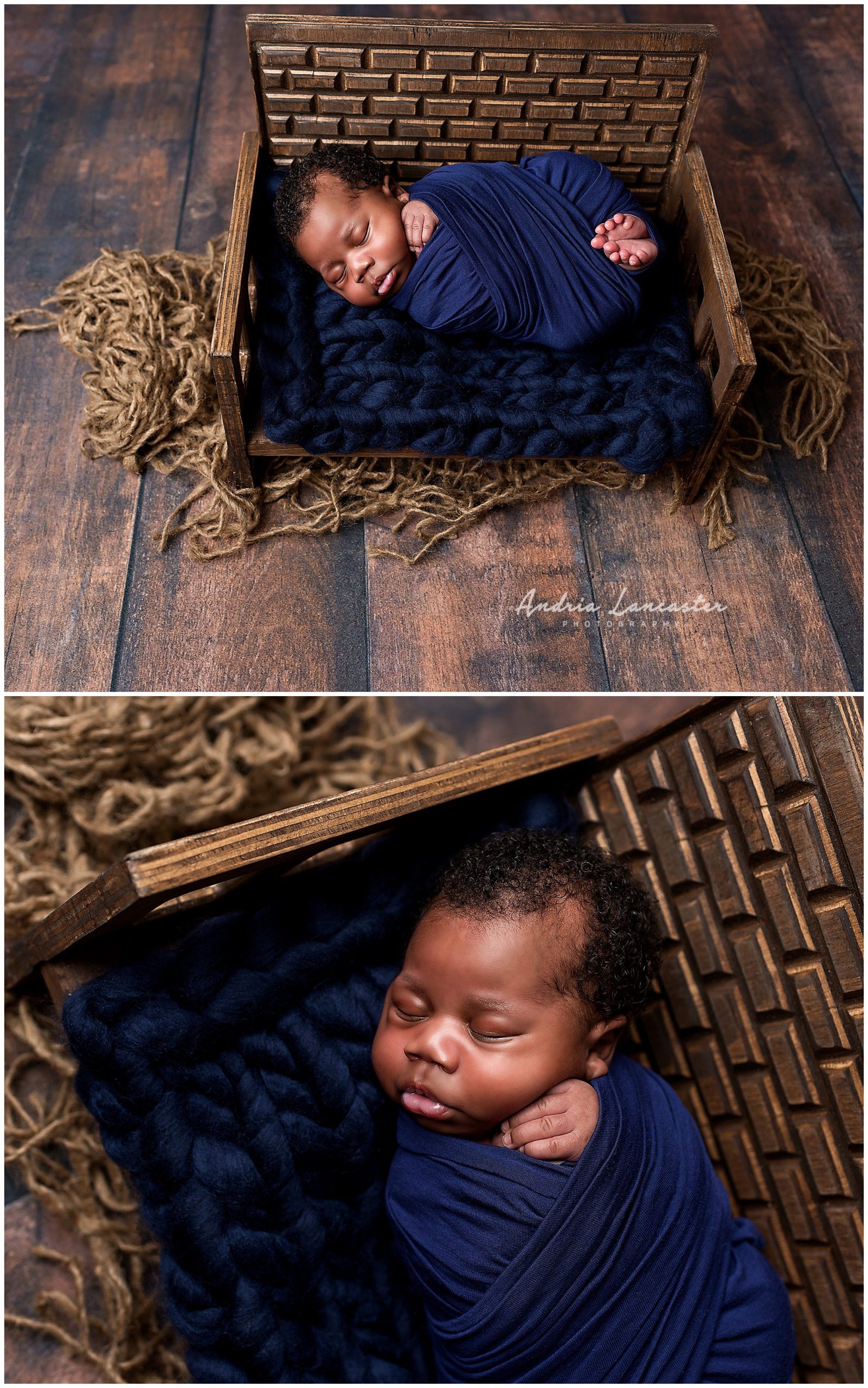 newborn boy posed wrapped on bench prop